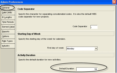 primavera p6 default activity duration