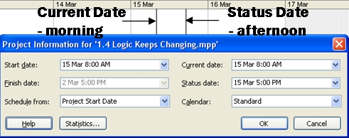 set current status date in ms project
